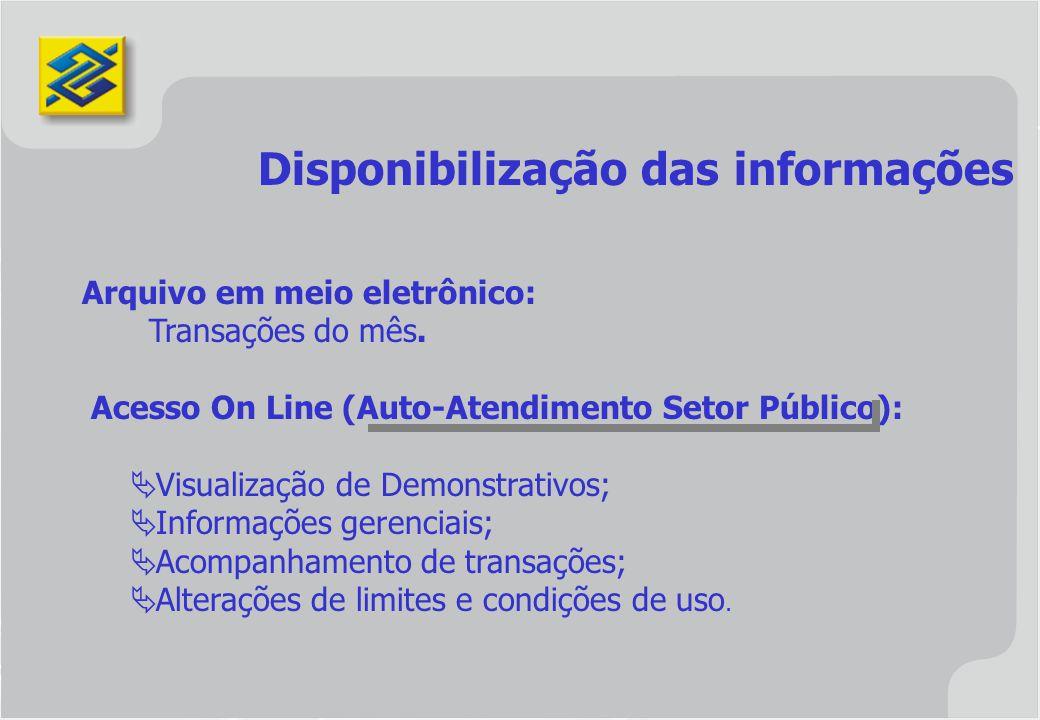 Disponibilização das informações Arquivo em meio eletrônico: Transações do mês. Acesso On Line (Auto-Atendimento Setor Público): Visualização de Demon