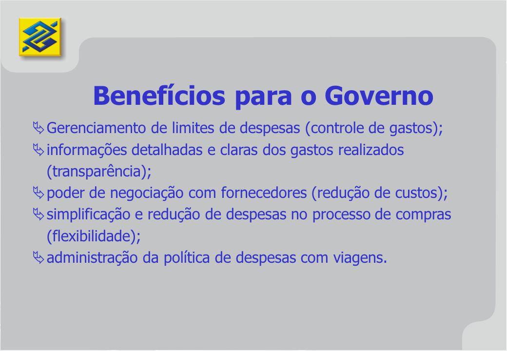 Gerenciamento de limites de despesas (controle de gastos); informações detalhadas e claras dos gastos realizados (transparência); poder de negociação