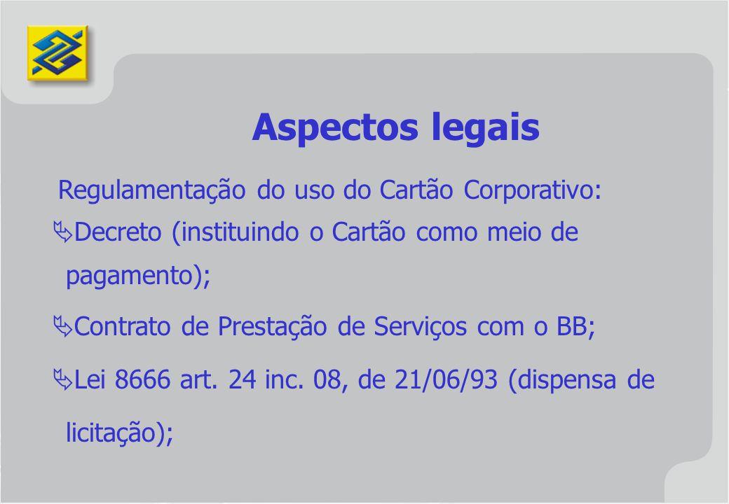 Regulamentação do uso do Cartão Corporativo: Decreto (instituindo o Cartão como meio de pagamento); Contrato de Prestação de Serviços com o BB; Lei 86