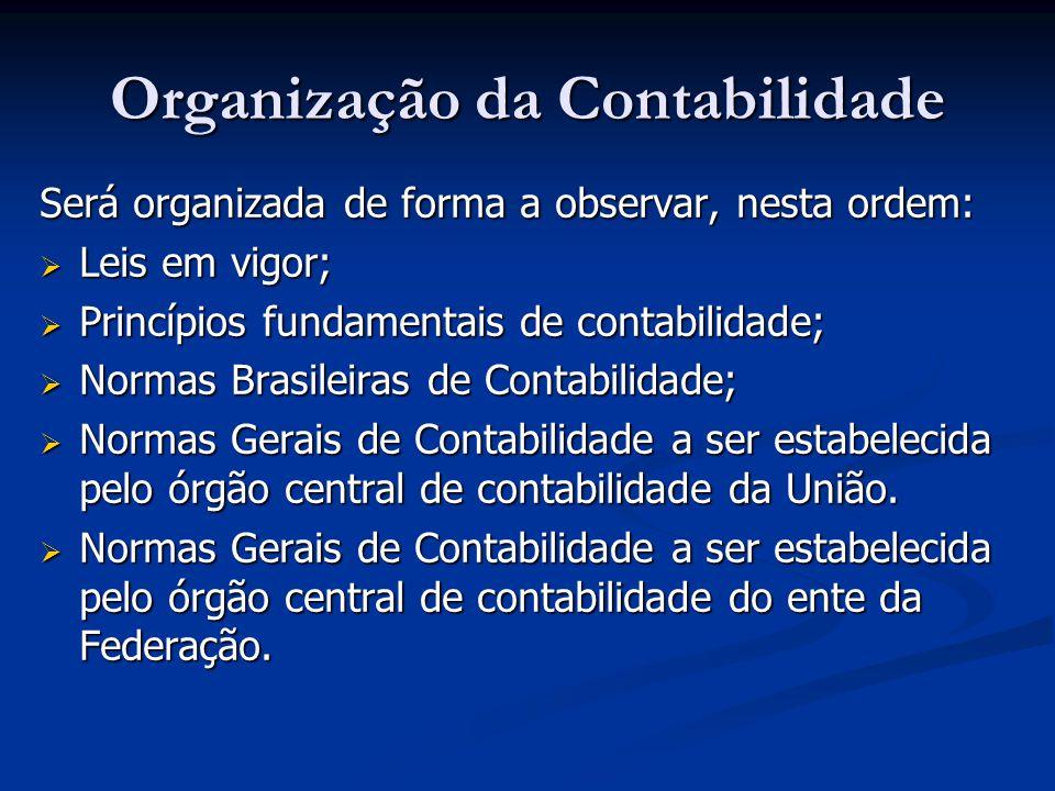 Organização da Contabilidade Será organizada de forma a observar, nesta ordem: Leis em vigor; Leis em vigor; Princípios fundamentais de contabilidade;
