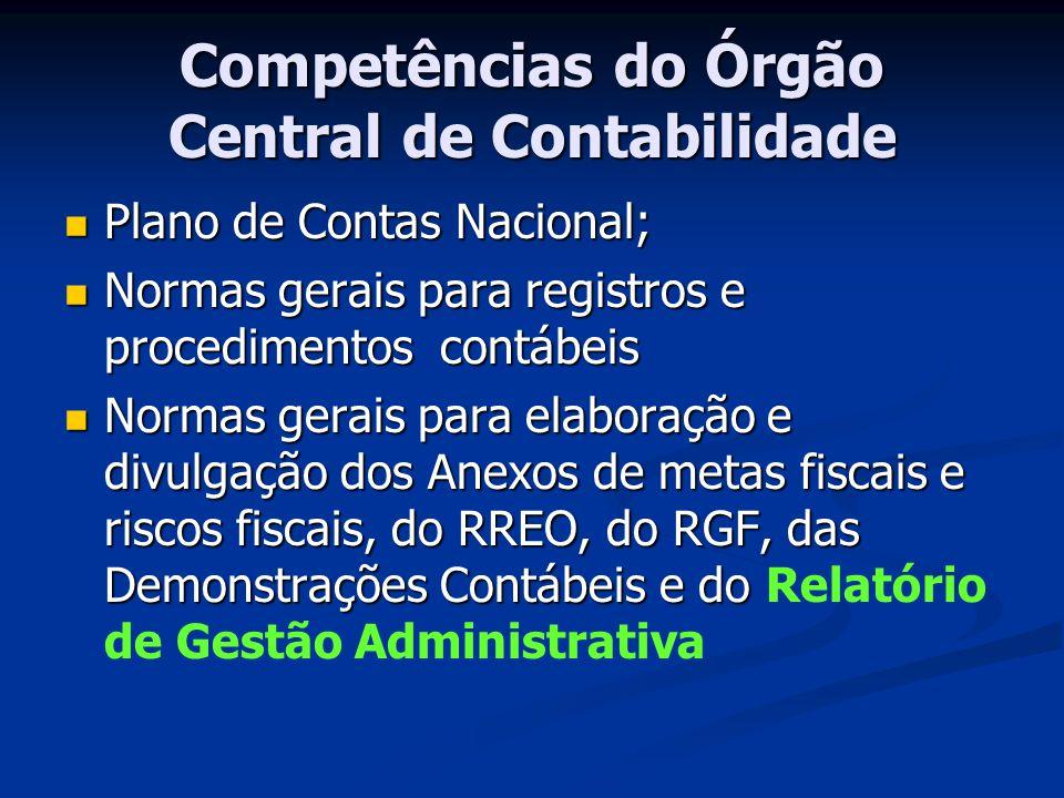 Competências do Órgão Central de Contabilidade Plano de Contas Nacional; Plano de Contas Nacional; Normas gerais para registros e procedimentos contáb