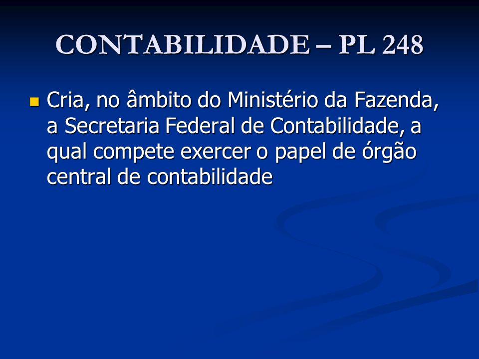 CONTABILIDADE – PL 248 Cria, no âmbito do Ministério da Fazenda, a Secretaria Federal de Contabilidade, a qual compete exercer o papel de órgão centra