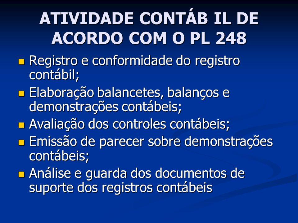 ATIVIDADE CONTÁB IL DE ACORDO COM O PL 248 Registro e conformidade do registro contábil; Registro e conformidade do registro contábil; Elaboração bala