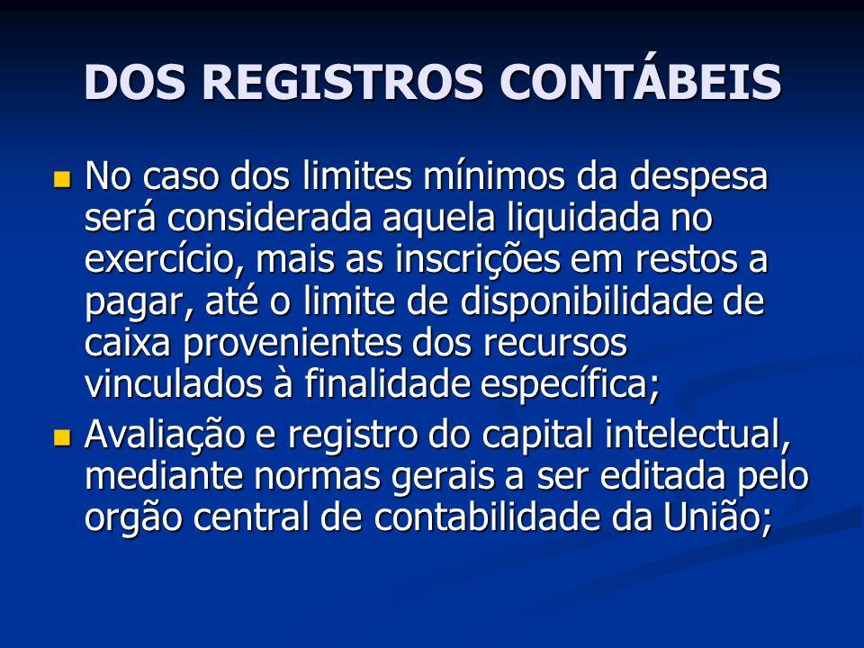 DOS REGISTROS CONTÁBEIS No caso dos limites mínimos da despesa será considerada aquela liquidada no exercício, mais as inscrições em restos a pagar, a