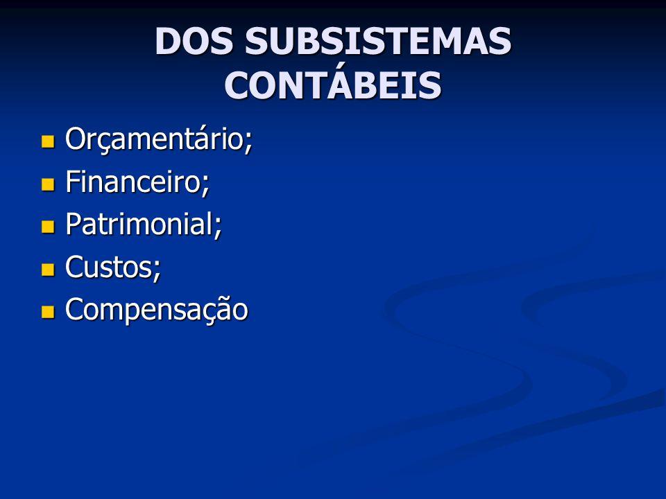 DOS SUBSISTEMAS CONTÁBEIS Orçamentário; Orçamentário; Financeiro; Financeiro; Patrimonial; Patrimonial; Custos; Custos; Compensação Compensação