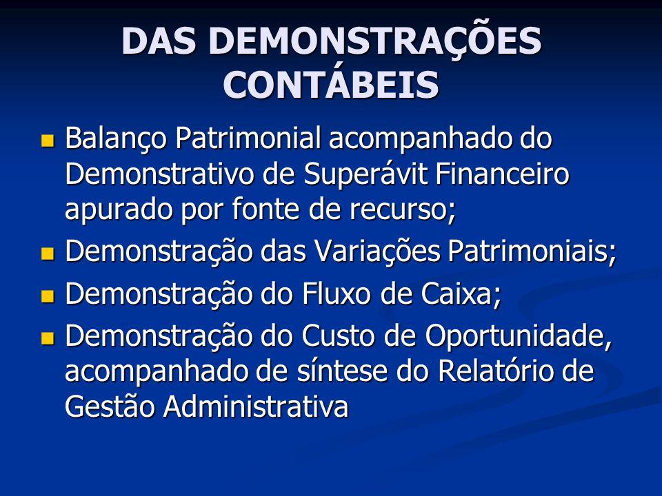DAS DEMONSTRAÇÕES CONTÁBEIS Balanço Patrimonial acompanhado do Demonstrativo de Superávit Financeiro apurado por fonte de recurso; Balanço Patrimonial