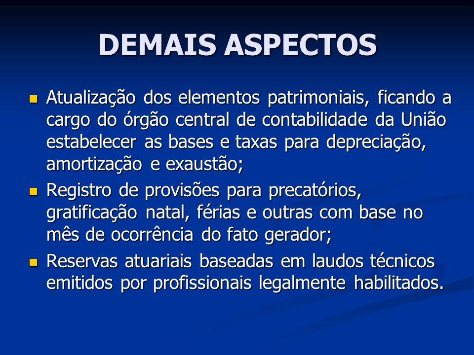 DEMAIS ASPECTOS Atualização dos elementos patrimoniais, ficando a cargo do órgão central de contabilidade da União estabelecer as bases e taxas para d