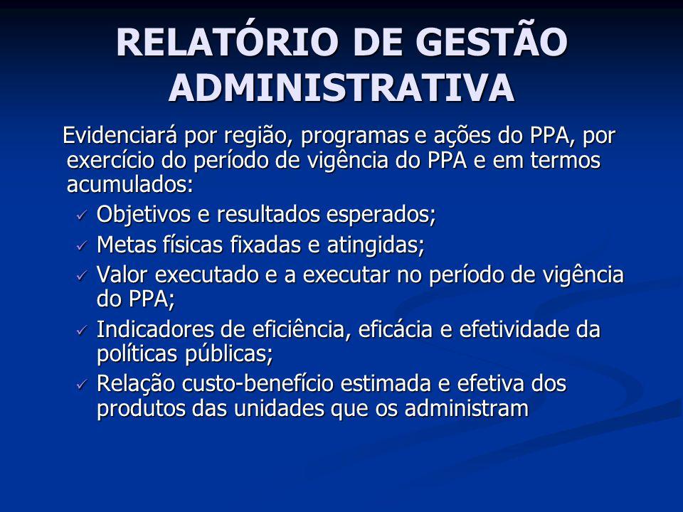 RELATÓRIO DE GESTÃO ADMINISTRATIVA Evidenciará por região, programas e ações do PPA, por exercício do período de vigência do PPA e em termos acumulado