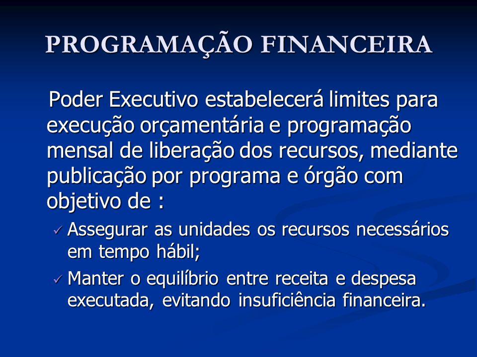 PROGRAMAÇÃO FINANCEIRA Poder Executivo estabelecerá limites para execução orçamentária e programação mensal de liberação dos recursos, mediante public