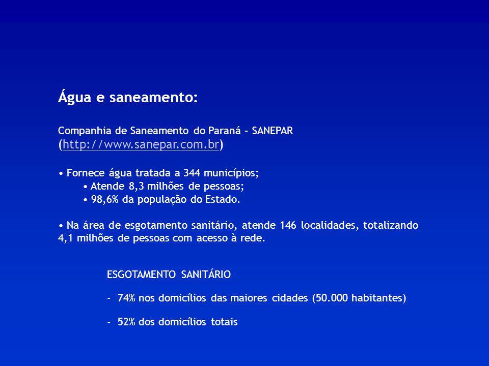 Água e saneamento: Companhia de Saneamento do Paraná – SANEPAR (http://www.sanepar.com.br)http://www.sanepar.com.br Fornece água tratada a 344 municíp