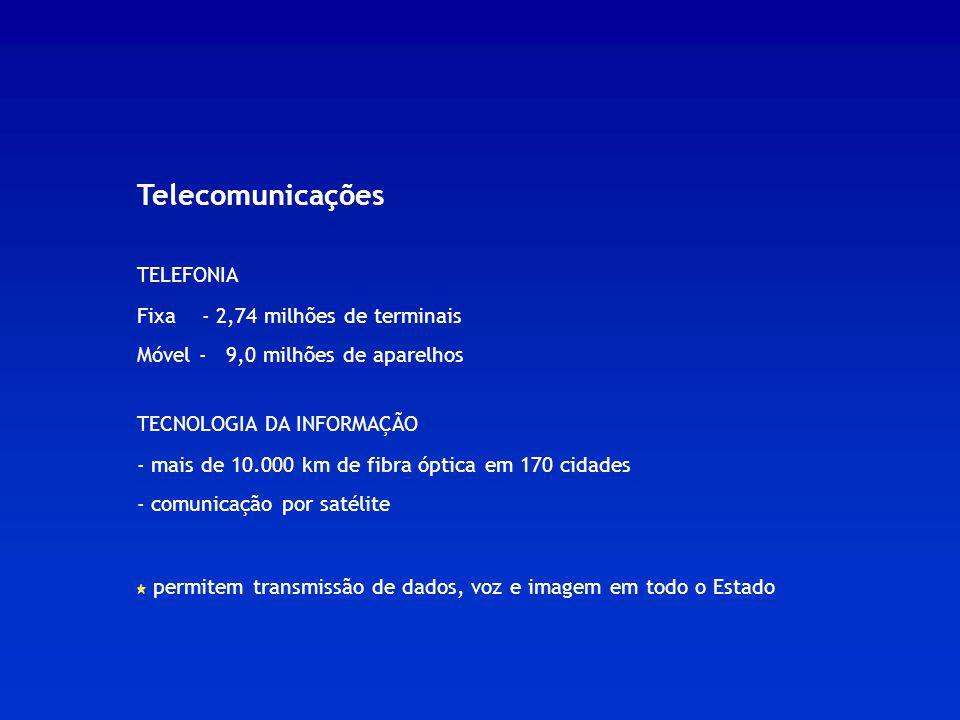 Telecomunicações TELEFONIA Fixa - 2,74 milhões de terminais Móvel - 9,0 milhões de aparelhos TECNOLOGIA DA INFORMAÇÃO - mais de 10.000 km de fibra ópt
