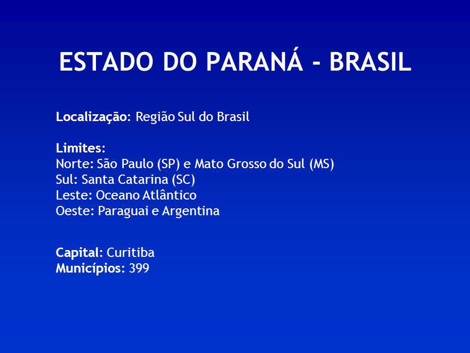 ESTADO DO PARANÁ - BRASIL Localização: Região Sul do Brasil Limites: Norte: São Paulo (SP) e Mato Grosso do Sul (MS) Sul: Santa Catarina (SC) Leste: O