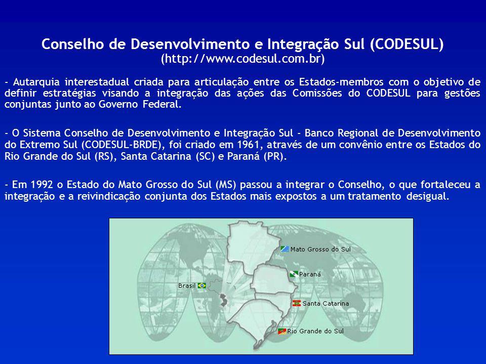 Conselho de Desenvolvimento e Integração Sul (CODESUL) (http://www.codesul.com.br) - Autarquia interestadual criada para articulação entre os Estados-