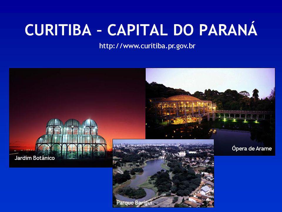 CURITIBA – CAPITAL DO PARANÁ Jardim Botânico Ópera de Arame Parque Barigüi http://www.curitiba.pr.gov.br