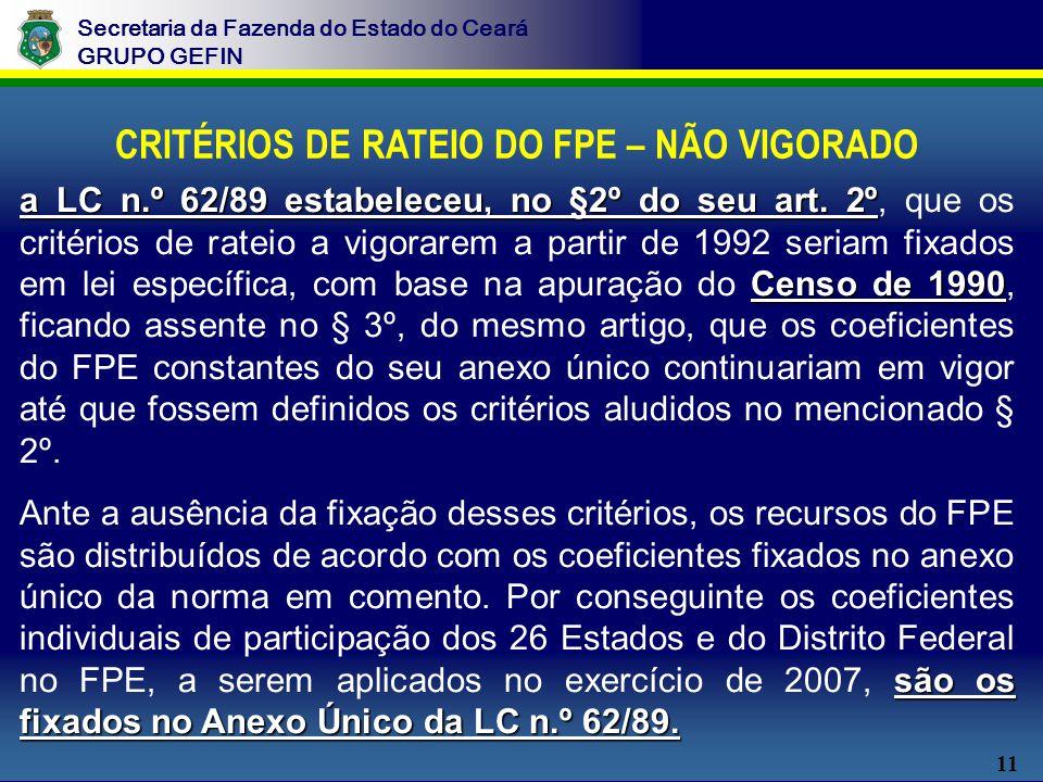 11 Secretaria da Fazenda do Estado do Ceará GRUPO GEFIN CRITÉRIOS DE RATEIO DO FPE – NÃO VIGORADO a LC n.º 62/89 estabeleceu, no §2º do seu art.