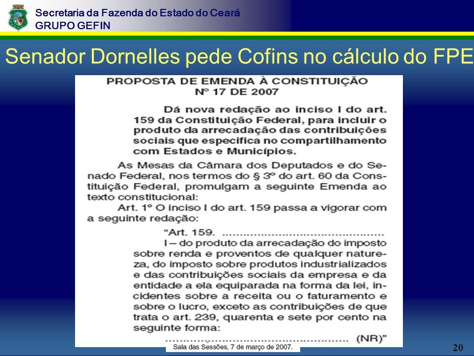 20 Secretaria da Fazenda do Estado do Ceará GRUPO GEFIN Senador Dornelles pede Cofins no cálculo do FPE
