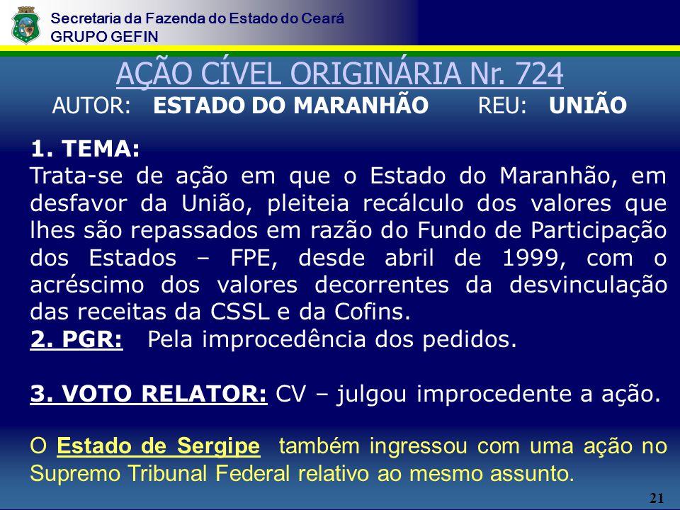 21 Secretaria da Fazenda do Estado do Ceará GRUPO GEFIN 1. TEMA: Trata-se de ação em que o Estado do Maranhão, em desfavor da União, pleiteia recálcul