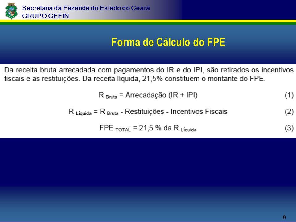 6 Secretaria da Fazenda do Estado do Ceará GRUPO GEFIN Forma de Cálculo do FPE