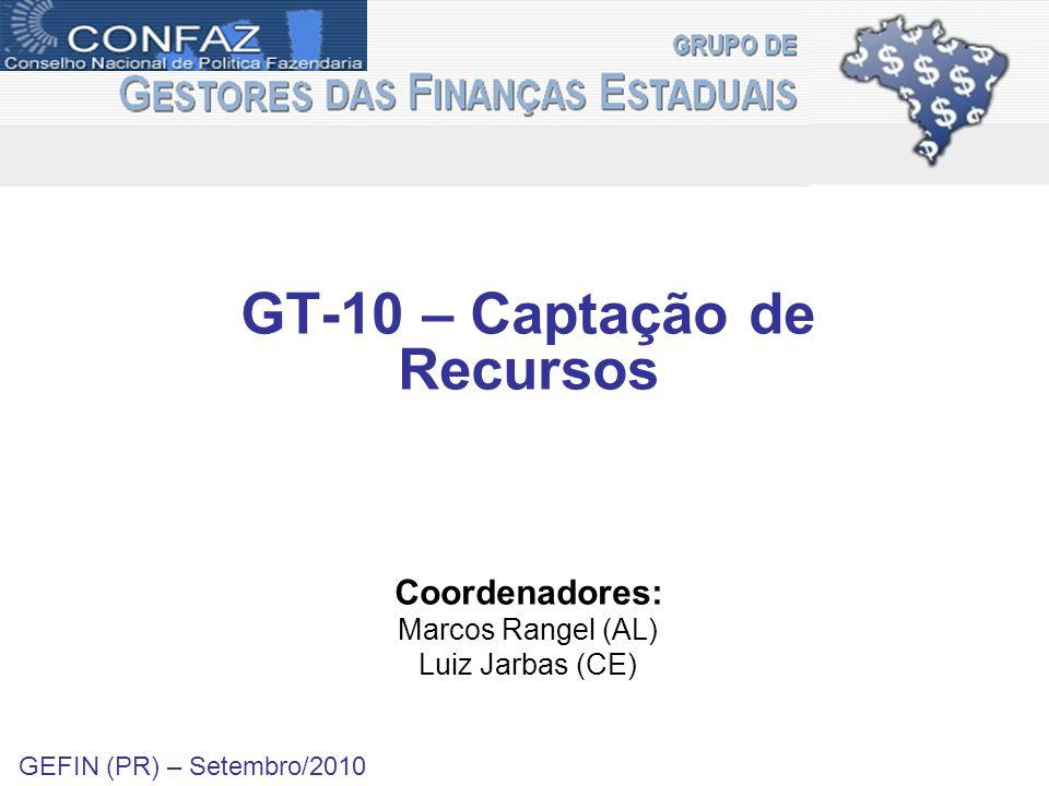 GT-10 – Captação de Recursos Coordenadores: Marcos Rangel (AL) Luiz Jarbas (CE) GEFIN (PR) – Setembro/2010