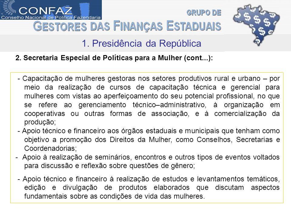 1. Presidência da República - Capacitação de mulheres gestoras nos setores produtivos rural e urbano – por meio da realização de cursos de capacitação