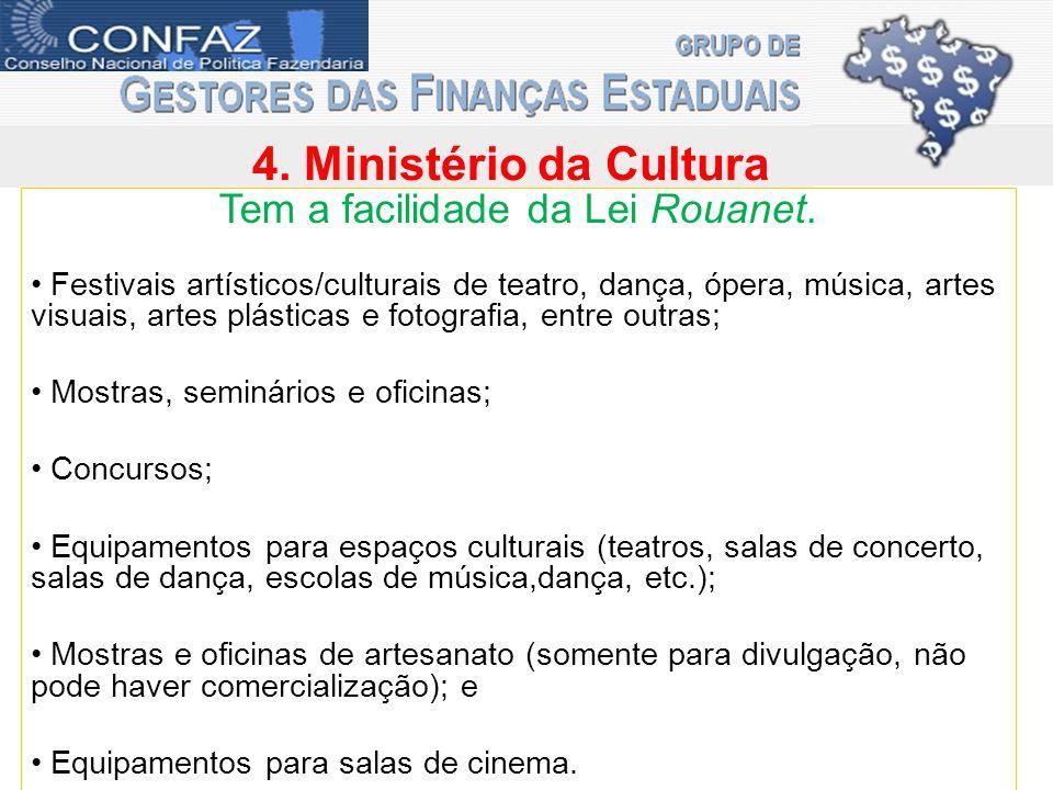 4. Ministério da Cultura Tem a facilidade da Lei Rouanet.