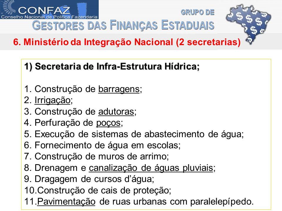 6. Ministério da Integração Nacional (2 secretarias) 1) Secretaria de Infra-Estrutura Hídrica; 1.Construção de barragens; 2.Irrigação; 3.Construção de