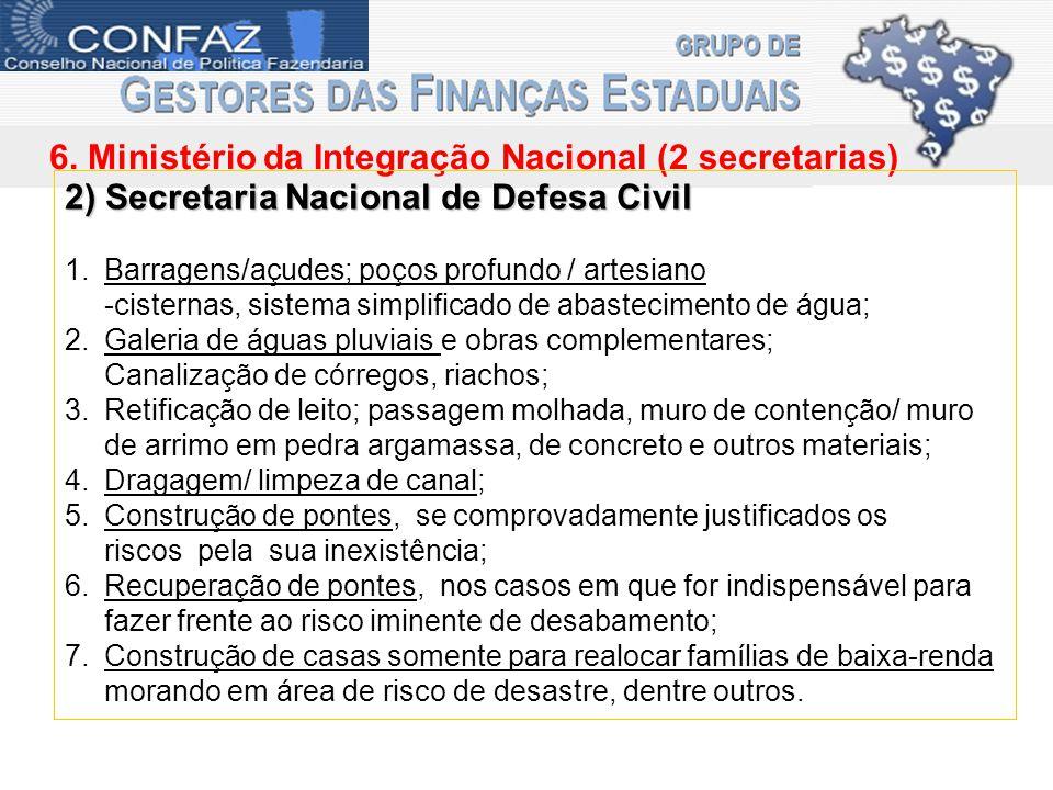 6. Ministério da Integração Nacional (2 secretarias) 2) Secretaria Nacional de Defesa Civil 1.Barragens/açudes; poços profundo / artesiano -cisternas,