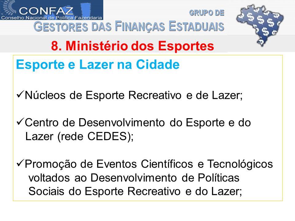 8. Ministério dos Esportes Esporte e Lazer na Cidade Núcleos de Esporte Recreativo e de Lazer; Centro de Desenvolvimento do Esporte e do Lazer (rede C