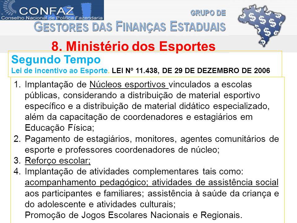 8. Ministério dos Esportes Segundo Tempo Lei de incentivo ao Esporte.