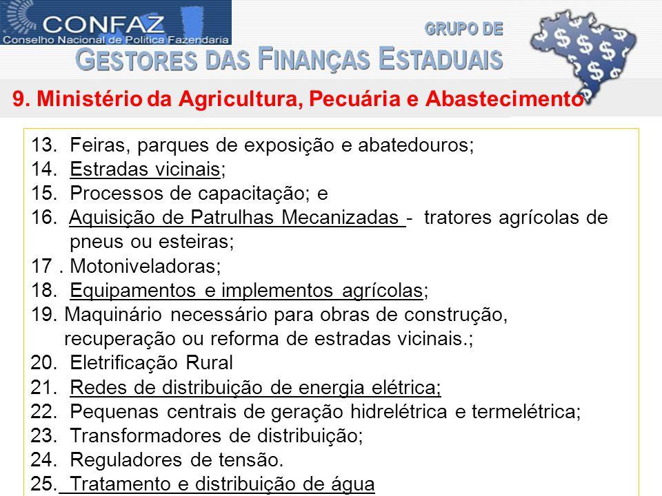 9. Ministério da Agricultura, Pecuária e Abastecimento 13.