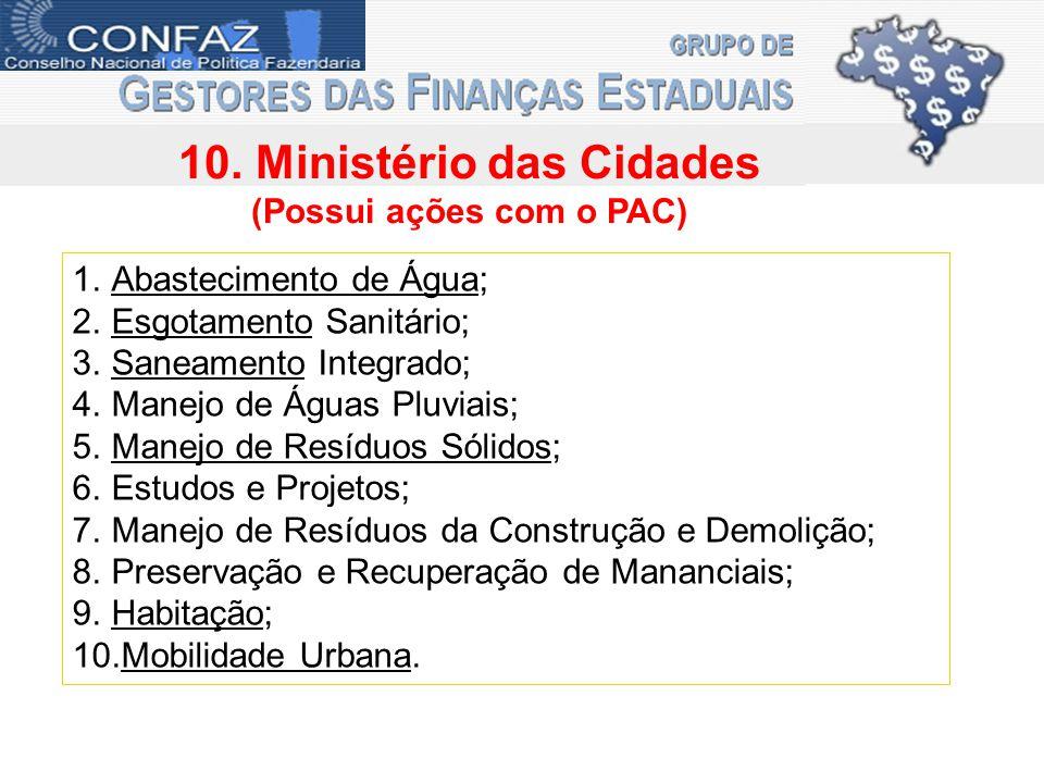 10. Ministério das Cidades (Possui ações com o PAC) 1.Abastecimento de Água; 2.Esgotamento Sanitário; 3.Saneamento Integrado; 4.Manejo de Águas Pluvia