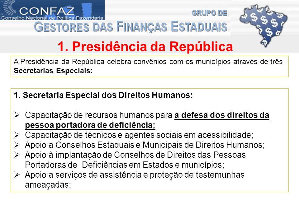 1. Presidência da República A Presidência da República celebra convênios com os municípios através de três Secretarias Especiais: 1. Secretaria Especi