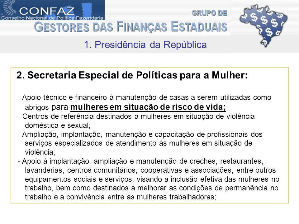 1. Presidência da República 2.