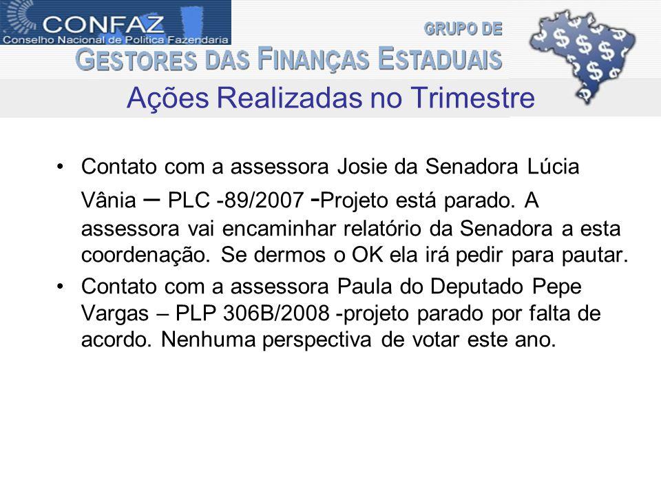Contato com a assessora Josie da Senadora Lúcia Vânia – PLC -89/2007 - Projeto está parado.