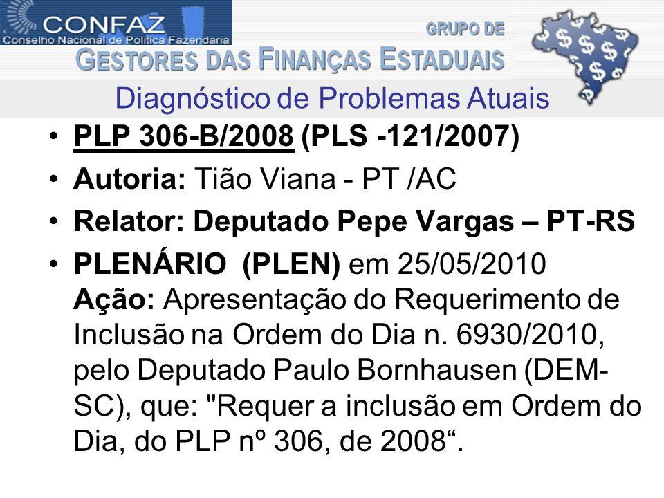 PLP 306-B/2008 (PLS -121/2007) Autoria: Tião Viana - PT /AC Relator: Deputado Pepe Vargas – PT-RS PLENÁRIO (PLEN) em 25/05/2010 Ação: Apresentação do Requerimento de Inclusão na Ordem do Dia n.