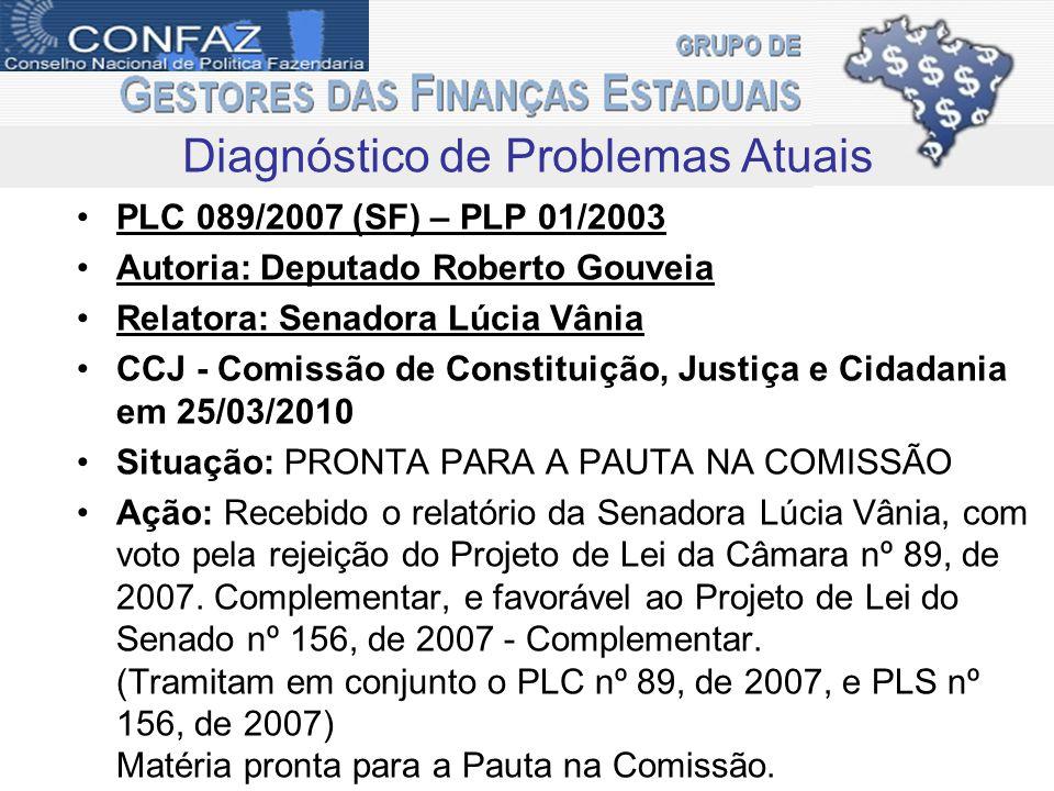 PLC 089/2007 (SF) – PLP 01/2003 Autoria: Deputado Roberto Gouveia Relatora: Senadora Lúcia Vânia CCJ - Comissão de Constituição, Justiça e Cidadania em 25/03/2010 Situação: PRONTA PARA A PAUTA NA COMISSÃO Ação: Recebido o relatório da Senadora Lúcia Vânia, com voto pela rejeição do Projeto de Lei da Câmara nº 89, de 2007.