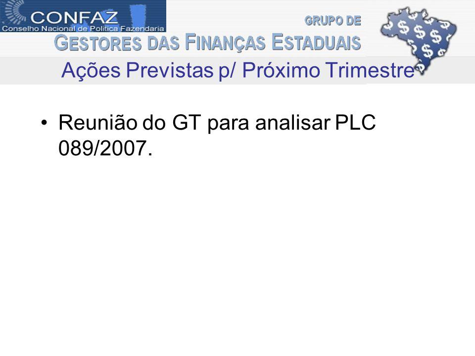 Reunião do GT para analisar PLC 089/2007. Ações Previstas p/ Próximo Trimestre