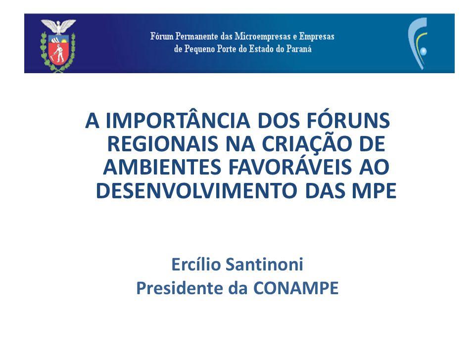 A IMPORTÂNCIA DOS FÓRUNS REGIONAIS NA CRIAÇÃO DE AMBIENTES FAVORÁVEIS AO DESENVOLVIMENTO DAS MPE Ercílio Santinoni Presidente da CONAMPE