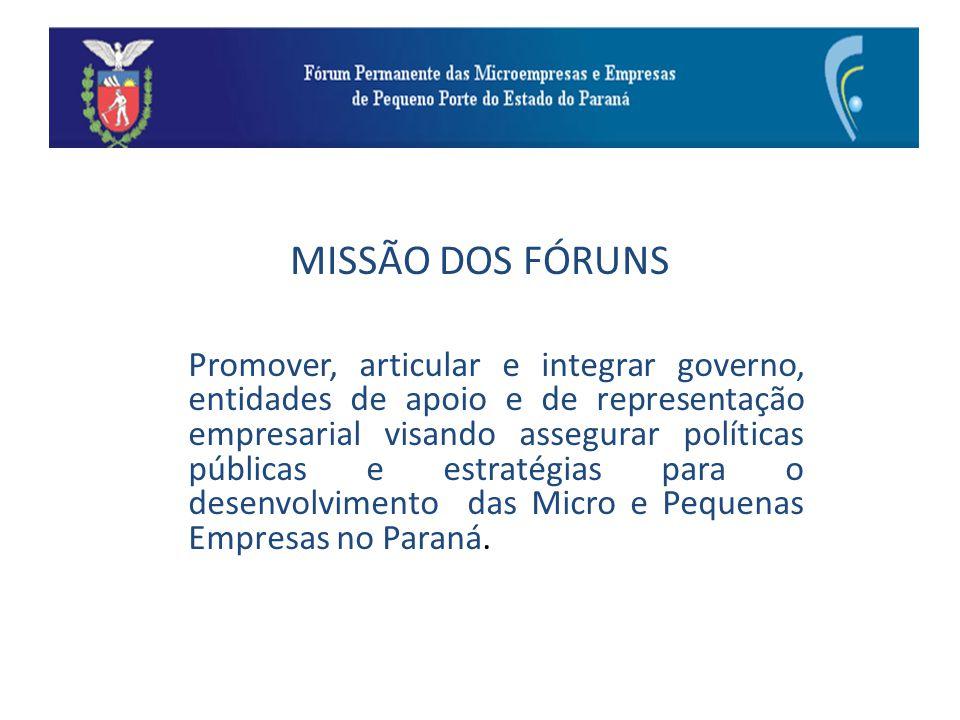 Integrantes dos Fóruns Tipo de Atividades a serem desenvolvidas: Minuta do Projeto de Lei Geral do Estado do Paraná.