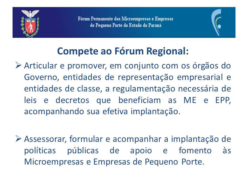 Compete ao Fórum Regional: Articular e promover, em conjunto com os órgãos do Governo, entidades de representação empresarial e entidades de classe, a regulamentação necessária de leis e decretos que beneficiam as ME e EPP, acompanhando sua efetiva implantação.