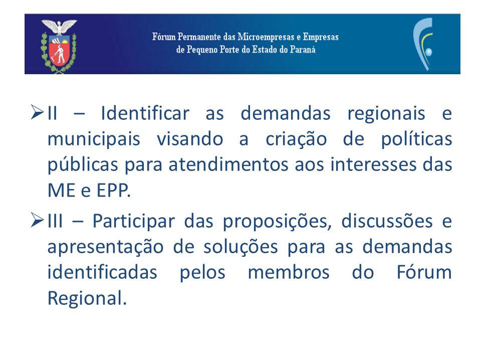 II – Identificar as demandas regionais e municipais visando a criação de políticas públicas para atendimentos aos interesses das ME e EPP.