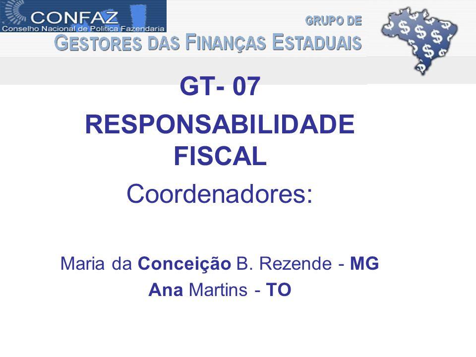 GT- 07 RESPONSABILIDADE FISCAL Coordenadores: Maria da Conceição B. Rezende - MG Ana Martins - TO