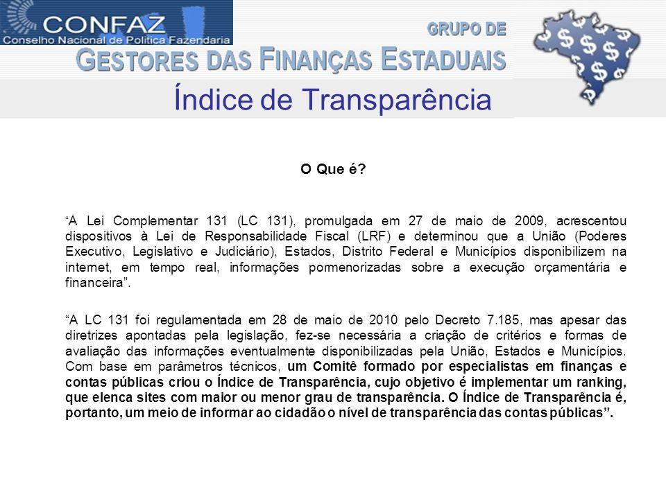Índice de Transparência O Que é? A Lei Complementar 131 (LC 131), promulgada em 27 de maio de 2009, acrescentou dispositivos à Lei de Responsabilidade