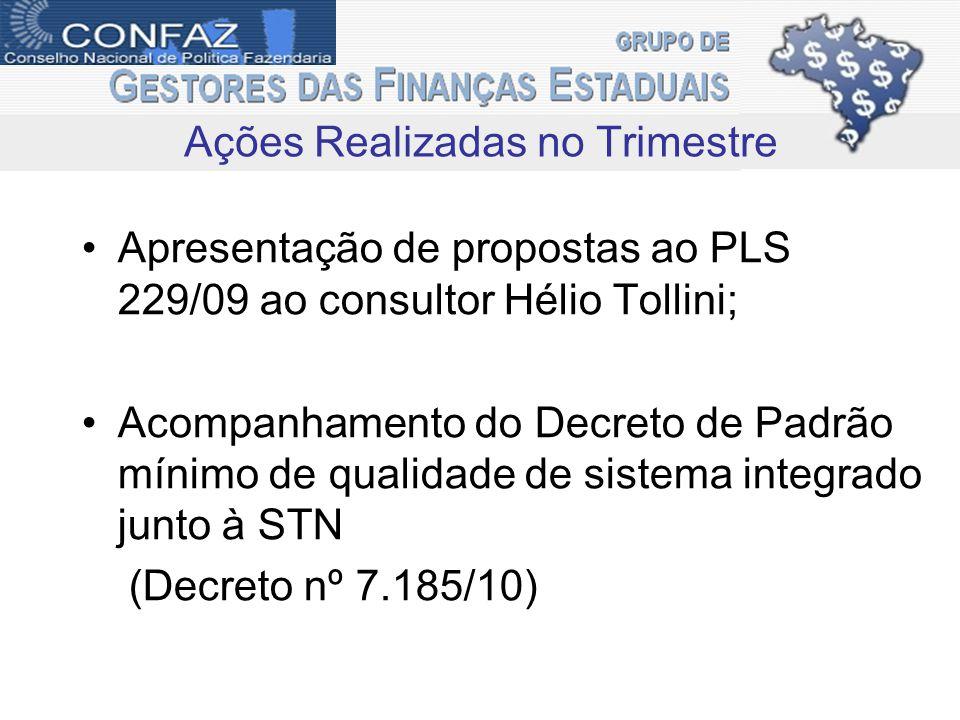 Apresentação de propostas ao PLS 229/09 ao consultor Hélio Tollini; Acompanhamento do Decreto de Padrão mínimo de qualidade de sistema integrado junto à STN (Decreto nº 7.185/10) Ações Realizadas no Trimestre