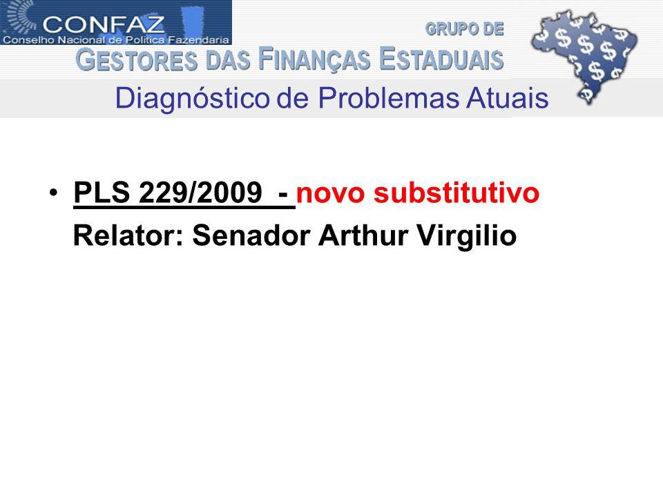 PLS 229/2009 - novo substitutivo Relator: Senador Arthur Virgilio Diagnóstico de Problemas Atuais