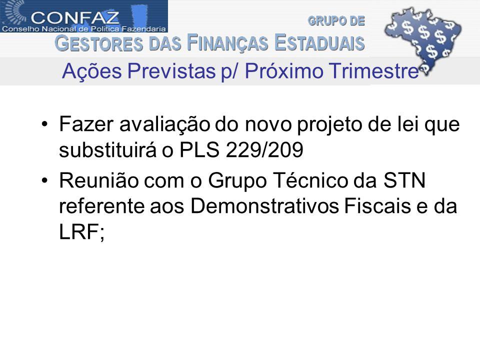 Fazer avaliação do novo projeto de lei que substituirá o PLS 229/209 Reunião com o Grupo Técnico da STN referente aos Demonstrativos Fiscais e da LRF; Ações Previstas p/ Próximo Trimestre