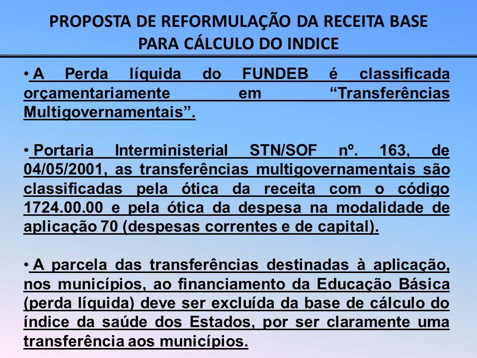 PROPOSTA DE REFORMULAÇÃO DA RECEITA BASE PARA CÁLCULO DO INDICE Total das receitas de impostos de natureza estadual: ICMS, IPVA, ITCMD (+) Receitas de transferências da União: Cota-Parte do FPE Cota-Parte do IPI-Exportação Transferência da Lei Complementar nº 87/96 (Lei Kandir) (+) Imposto de Renda Retido na Fonte – IRRF (+) Outras Receitas Correntes: Receita da Dívida Ativa Tributária de Impostos, Multas, Juros de Mora e Correção Monetária.