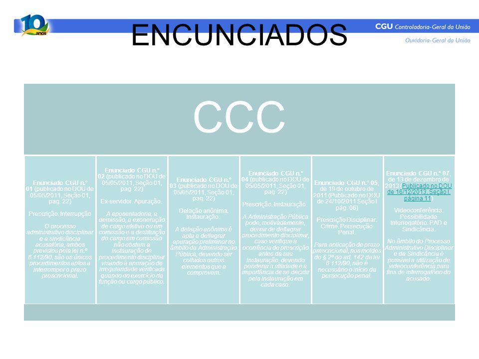 ENCUNCIADOS CCC Enunciado CGU n.º 01 (publicado no DOU de 05/05/2011, Seção 01, pag. 22) Prescrição. Interrupção O processo administrativo disciplinar