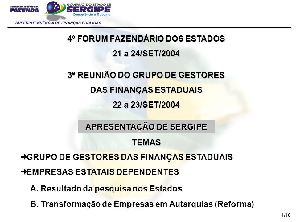 4º FORUM FAZENDÁRIO DOS ESTADOS 21 a 24/SET/2004 EMPRESAS ESTATAIS DEPENDENTES A.