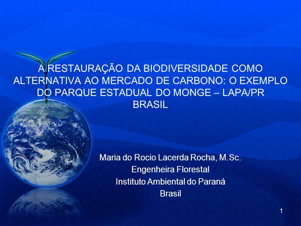 A RESTAURAÇÃO DA BIODIVERSIDADE COMO ALTERNATIVA AO MERCADO DE CARBONO: O EXEMPLO DO PARQUE ESTADUAL DO MONGE – LAPA/PR BRASIL Maria do Rocio Lacerda Rocha, M.Sc.